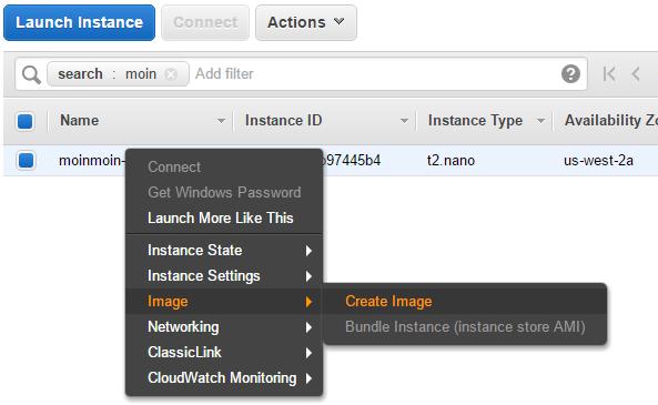 Create an Amazon Machine Image(AMI)